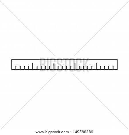 Ruler icon. Ruler Vector isolated on white background. Flat vector illustration in black. EPS 10