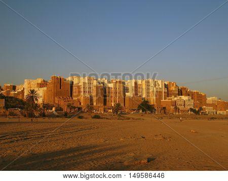 Panorama of Shibam mad skyscrapers Hadramout Yemen
