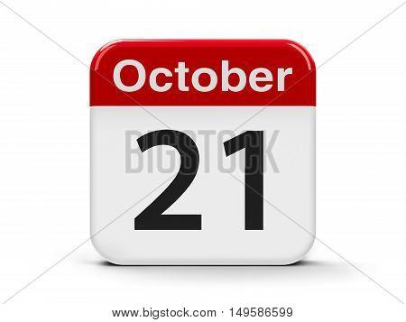Calendar web button - The Twenty First of October - Trafalgar Day three-dimensional rendering 3D illustration