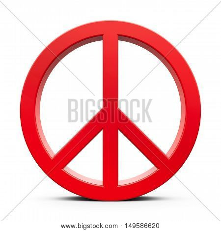 Red peace symbol isolated on white background three-dimensional rendering 3D illustration
