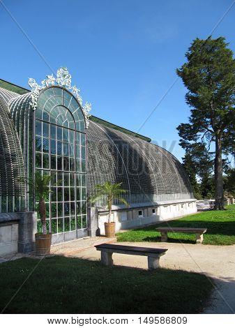 Lednice Czech Republic - September 29 2011: Old Glasshouse in Lednice near Fairytale Castle Lednice-Valtice Cultural Landscape South Moravia