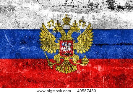 Flag Of Russia With Coat Of Arms, Painted On Dirty Wall