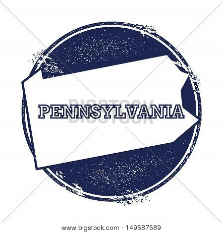 Pennsylvania Vector Map. Grunge Rubber Stamp With The Name And Map Of Pennsylvania, Vector Illustrat