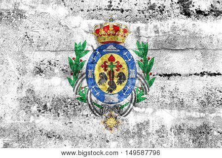 Flag Of Santa Cruz De Tenerife, Spain, Painted On Dirty Wall