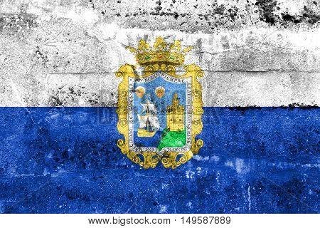 Flag Of Santander, Spain, Painted On Dirty Wall