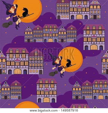 Halloween seamless pattern  with the image of the little witch and old houses