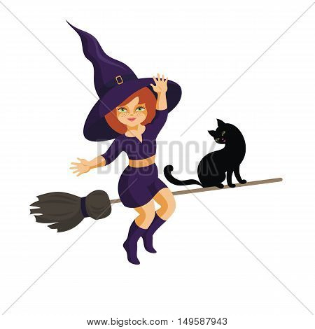 the little red-haired witch and black cat fly on the broom