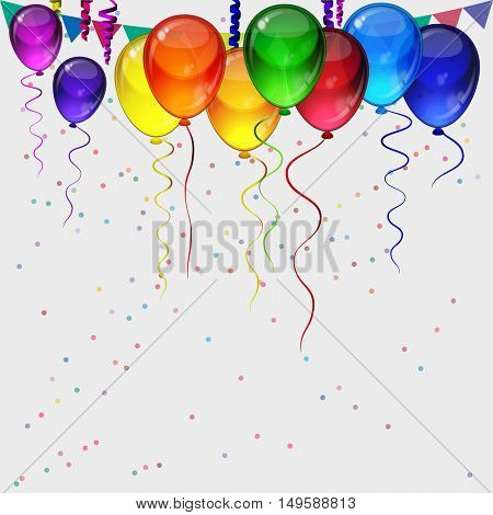 Birthday party background - realistic transparency colorful festive balloons, confetti, ribbons flying for celebrations card in isolated white background with space for you text.