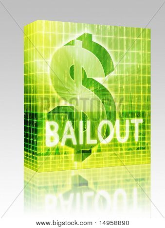 Software package box Bailout Finance illustration, dollar symbol over financial design
