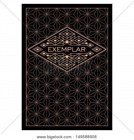 Vintage Luxury Antique Art Deco Monochrome Gold Flourishes frame. Ornamental Greeting Card Vector Template. Background cover. Title page.