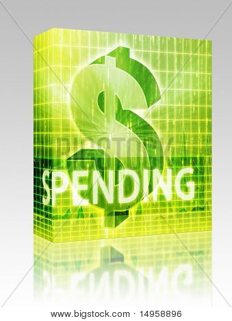 Software package box Spending Finance illustration, dollar symbol over financial design