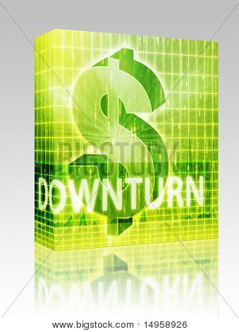 Software package box Downturn Finance illustration, dollar symbol over financial design