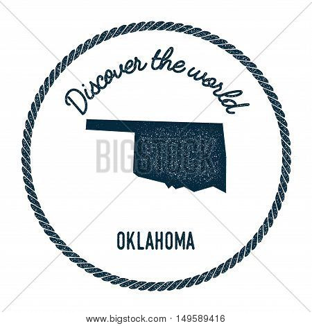 Oklahoma Map In Vintage Discover The World Rubber Stamp. Hipster Style Nautical Postage Stamp, With