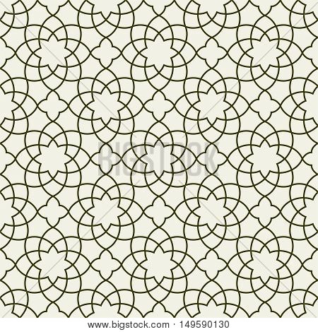 Gorgeous Seamless Arabic Pattern Design. Monochrome Wallpaper or Background.