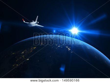 Space shuttle on the orbit. 3D illustration