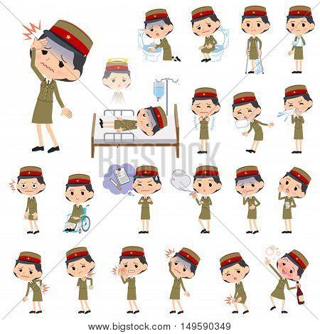 Military Wear Japan Style Woman Sickness