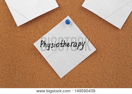 The word PHYSIOTHERAPY written on sticky note