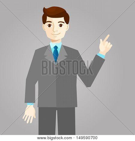 Businessman pointing with finger, flat design, vector illustration
