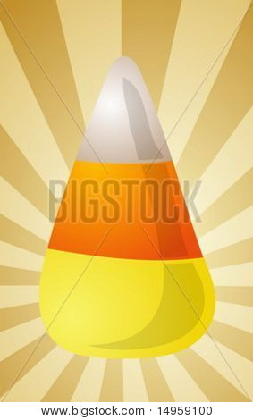 Candy corn sweet confection, illustration on radial burst
