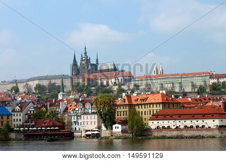 View old town and Prague castle with river Vltava Czech Republic