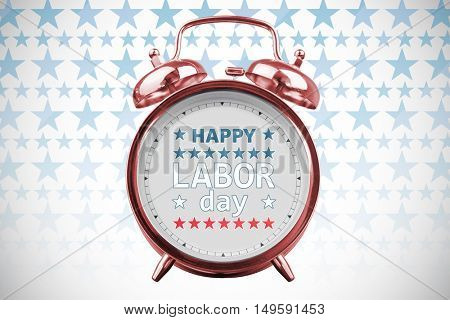 Happy labor day text with star shape against white background with vignette