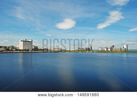 View of Western Harbour in Edinburgh, Great Britain