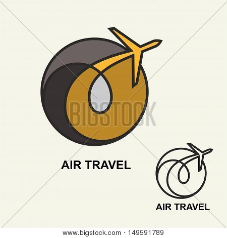 Aviation logo, emblem template, air travel. Vector. Line art.