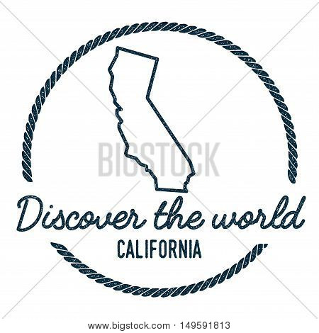 California Map Outline. Vintage Discover The World Rubber Stamp With California Map. Hipster Style N