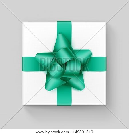 Vector White Square Gift Box with Shiny Light Green Emerald Ribbon Bow Close up Top view Isolated on Background