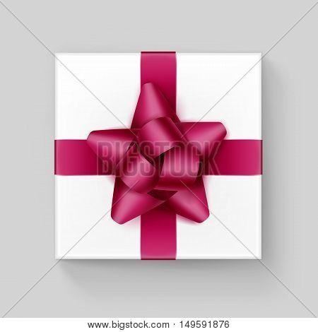 Vector White Square Gift Box with Shiny Magenta Dark Pink  Burgundy Ribbon Bow Close up Top view Isolated on Background