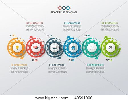 Business Infographic Template With Gears Cogwheels 6 Steps, Processes, Parts, Options. Vector Illust