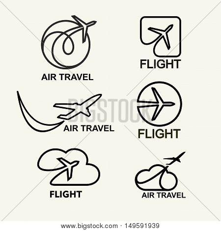 Vector set. Aviation logs, emblems template, air travel. Line art.