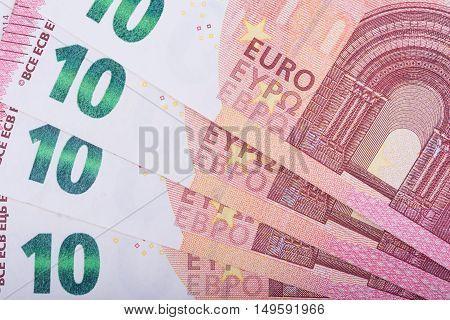 Euro money background. Ten euro banknotes. European Union Currency