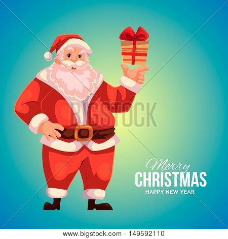 Cartoon style Santa Claus holding a small gift box, Christmas vector greeting blue card. Full length portrait of Santa holding a little present box, greeting card template for Christmas eve