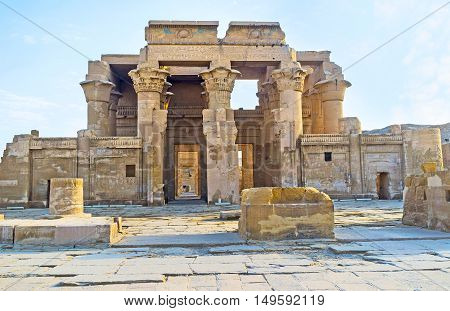 The double entrance to the ancient Kom Ombo Temple dedicated to Gods Sobek and Horus Egypt.