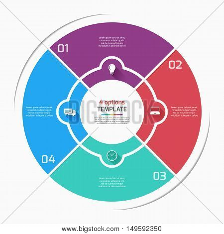 Flat Style Pie Chart Circle Infographic Template With 4 Options, Steps, Parts, Processes. Vector Ill