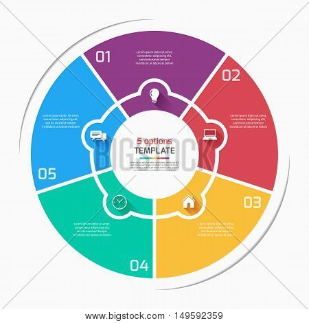 Flat Style Pie Chart Circle Infographic Template With 5 Options, Steps, Parts, Processes. Vector Ill