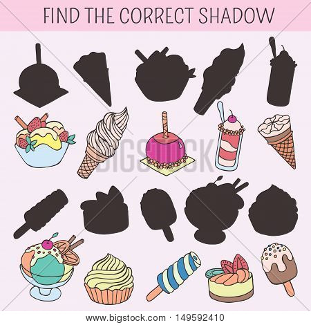 Find the correct shadow. Educational game for children. Cartoon cakes, cupcakes, desserts, sweets, ice cream