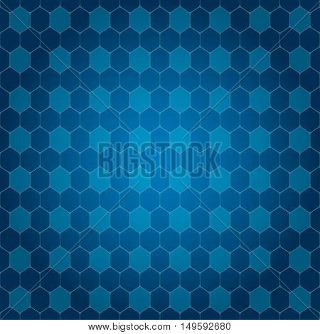 Vector abstract blue gradient background with hexagon shapes different opacity.