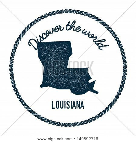 Louisiana Map In Vintage Discover The World Rubber Stamp. Hipster Style Nautical Postage Stamp, With
