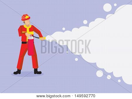 Fireman in red uniform and helmet spraying foam from a fire extinguisher. Vector cartoon illustration isolated on plain purple background.