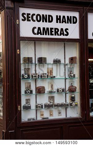 Vienna, Austria - May 30: Second hand cameras shop in Vienna on  May 30, 2015 in Vienna, in Austria