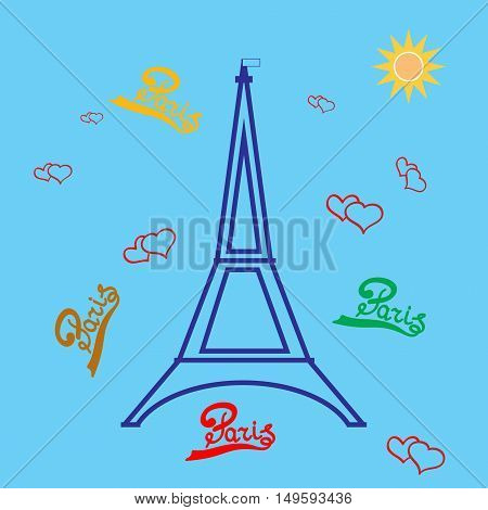 T shirt typography graphic with quote Paris and eiffel tower. Fashion print for sports wear. Template for t shirt apparel card poster. Design element. Heart as symbol of love. Vector illustration