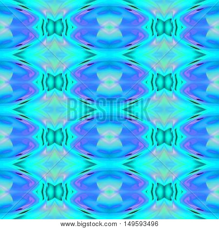 Abstract geometric seamless background. Regular ellipses and diamond pattern in blue, turquoise and purple shades with dark green and pink elements.