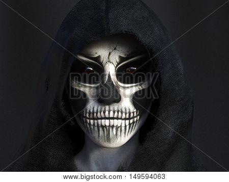 Portrait of the reaper dressed in a black hood 3D rendering. Dark background.