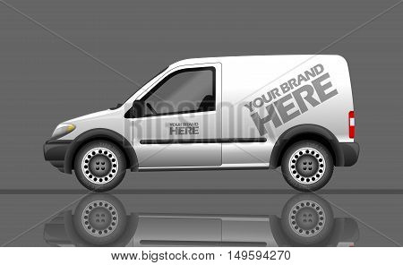 Digital vector silver and white realistic vehicle car mockup, ready for your logo and design, flat style