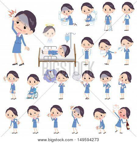Cabin Attendant Blue Woman Sickness