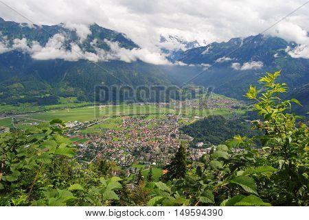 View from the top of Harder Kulm mountain 1322 m in Interlaken, Switzerland.