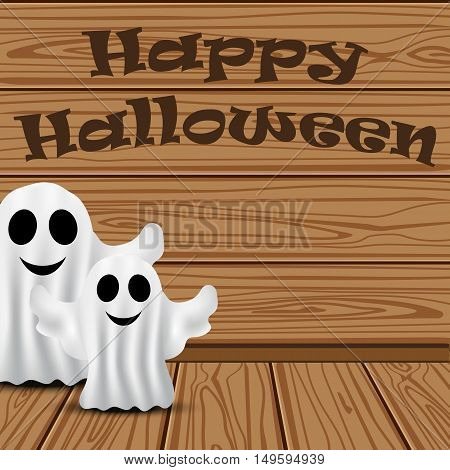 Ghost in the background of the wooden planks on Halloween