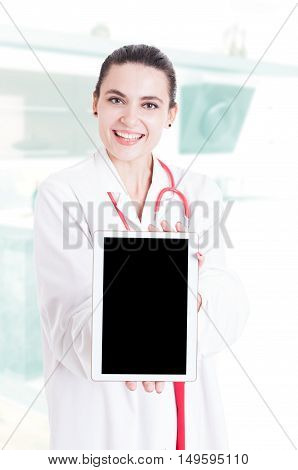 Trustworthy Medical Specialist Holding Modern Tablet
